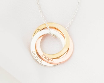 Family Necklace • Personalized Linked Circle Necklace • Custom Name Linked Rings • Personalized Eternity Necklace • NM30F53