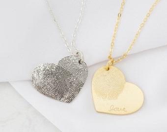 Custom Fingerprint Necklace • Heart Charm Fingerprint Necklace • Custom Handwriting Jewelry • Gift for Her • Gift for Grandma • NM32