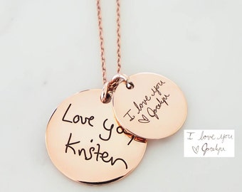Handwriting Jewelry • Disc Necklace • Your Actual Handwriting Necklace • Signature Charm Necklace • Personalized Gift • NM20