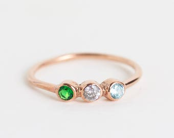 Custom Birthstone Ring • Triple Birthstone Ring • Personalized Birthstone Jewelry • Dainty Stacking Ring • Personalized Gift For Mom • RH07