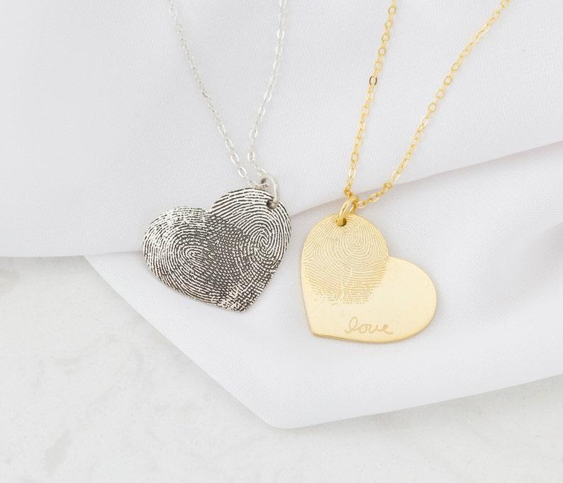 Custom Fingerprint Necklace  Heart Charm Fingerprint Necklace image 0
