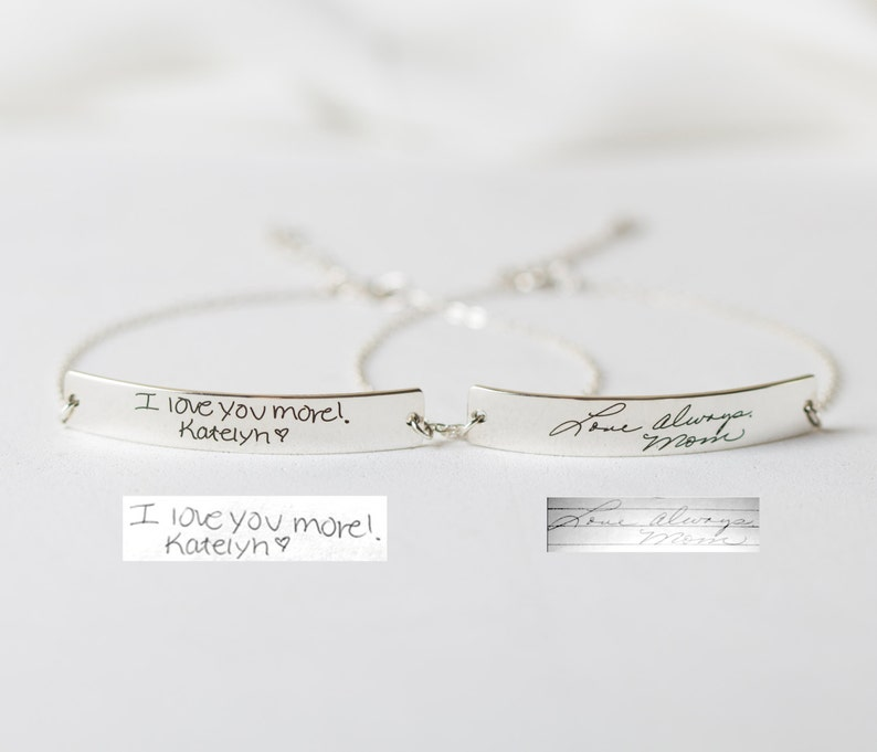 Signature Bracelet in Sterling Silver/Handwriting image 0