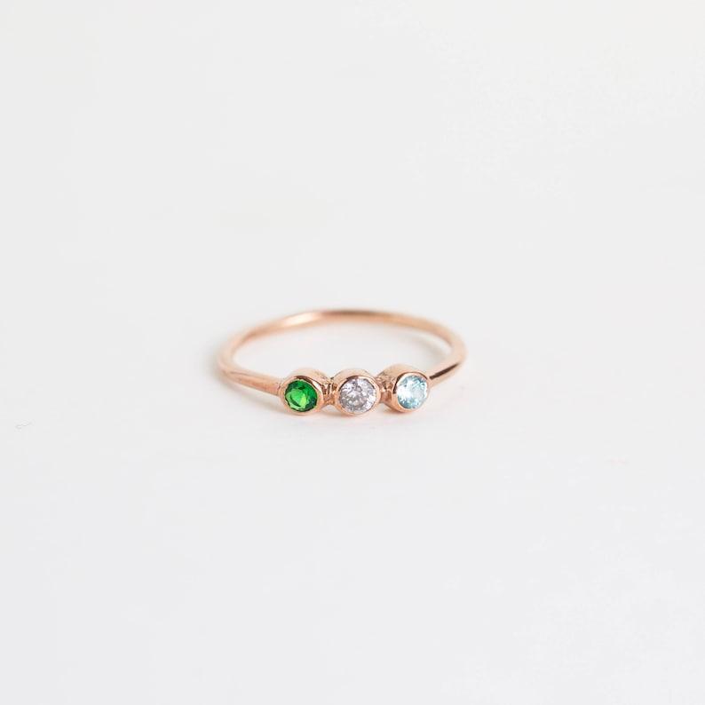 Custom Birthstone Ring  Triple Birthstone Ring  Personalized image 0