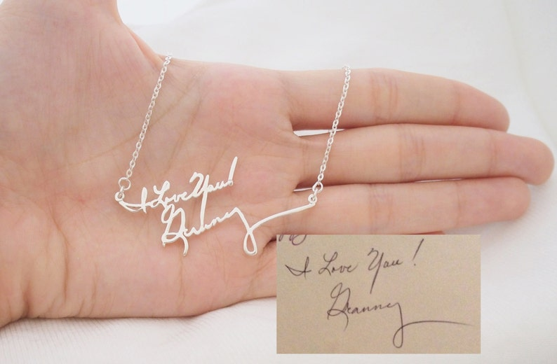 Handwriting Necklace  Personalized Signature Jewelry in image 0