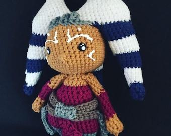Handmade Crochet Star Wars Ahsoka Tano Doll