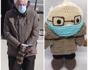 Bernie Sanders Plushie Amigurumi Crochet Doll
