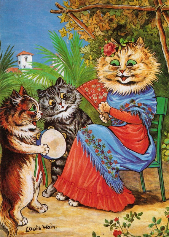 Louis Wain Print Cat Art , Musical Cats , vintage decor music lovers gifts  best selling pet vintage new items today cat decor singing cat