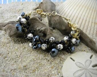Golden Coal Crochet Bracelet