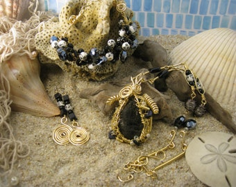 Golden Coal Wire Wrapped Jewelry Set
