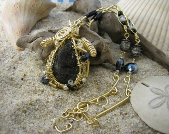 Golden Coal Pendant and Necklace