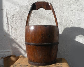 Large French antique wooden rustic bucket with carrying handle, French country home, primitive wooden bucket, farmhouse decor, country home