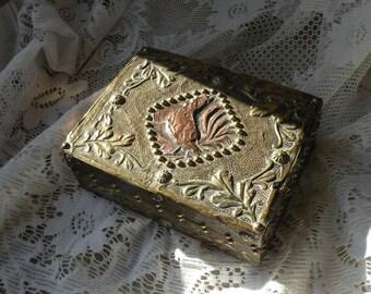French vintage hand made box, decorative box, copper box, brass box, jewelry box, keepsake box, gift box, vintage box, vintage artisan box