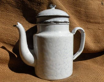 French vintage white enamel coffeepot, antique enamel coffeepot, shabby chic, country cottage, French country home, country kitchen, rustic