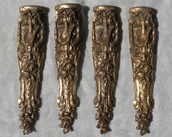 French antique bronze corners x 4, bronze garniture, Furniture hardware, Reclaimed, bronze coated, chateau chic, romantic French, brass