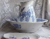 French Vintage Ironstone Water Pitcher and Basin with Blue Transferware by Onnaing, Ironstone Jug and Bowl with Soap Dish