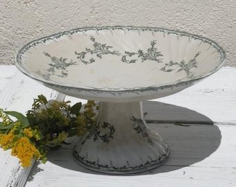 French antique ironstone transferware cake stand by Longwy, fruit bowl, French vintage compote, shabby chic, chateau chic, country home
