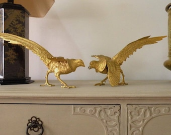 French vintage pheasants, retro table centerpiece, retro pheasants, metal pheasants, bird ornaments, table decoration, dining decor