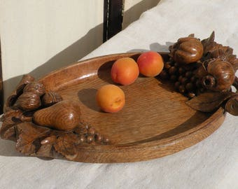 French vintage antique hand carved wooden dish, antique wooden fruit dish, rustic fruit platter dish, French wooden carving, french country