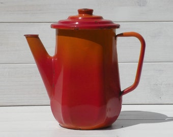 French vintage enamel coffeepot teapot, vintage enamel coffeepot, French vintage tea pot, vintage coffee pot, red and orange country home