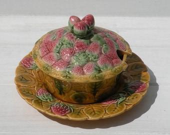 French Vintage Sarreguemines Strawberry Jam Dish and Plate, Vintage Majolica Glazed Dish, Vintage Barbotine Butter Dish, Vintage Jam Pot