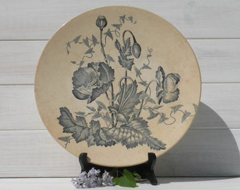 Large French Antique Ironstone Wall Platter, Longchamp French Ironstone Wall Plate, Antique Wall Plate, Blue and White Transferware