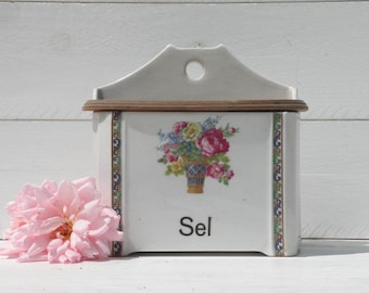 Large French Vintage Salt Canister, Czechoslovakian Salt Box, Antique Salt Canister, Country Kitchen, French Farmhouse,  Sel Boite
