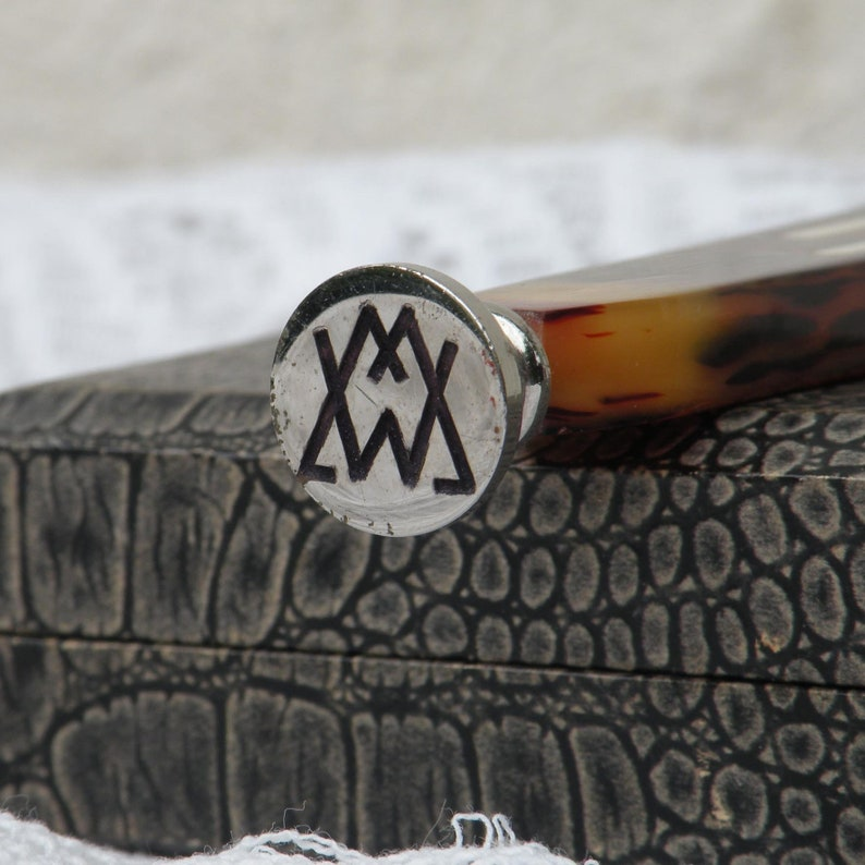 French Vintage Wax Seal with Monogram MW Art Deco Seal