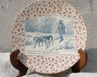French antique transferware plate, wall plate, talking plate, wall decor, French antique, French vintage, country home, antique dog plate