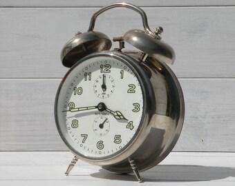 large Jaz alarm clock, desk clock, Jaz Repetition clock, unique large clock, table clock, French vintage clock, retro alarm clock