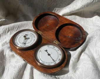 French Vintage Precision barometer and Temperature Gauge in Beautiful Wooden Box, Precision Barometre, Unique Gift, Office Decor