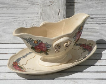 French antique Sarreguemines sauce boat, French sauce boat,  sarreguemines gravy boat, French antique transferware, sauce boat, country home