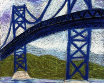 Mt. Hope Bridge- Original 5x7 Pastel Drawing