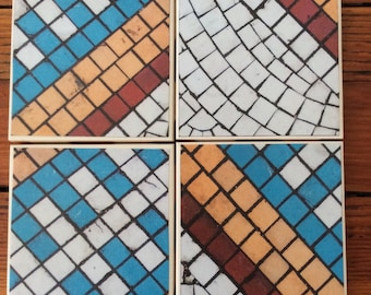Mosaic Tile Design Coasters- Set of 4 Ceramic Coasters