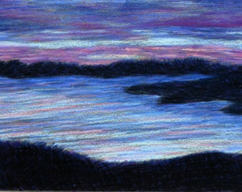 Dusk- Sunset Over Water- Original Pastel Drawing 5x7