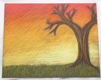 November Sunset- Original Pastel Drawing- 8x10 Drawing