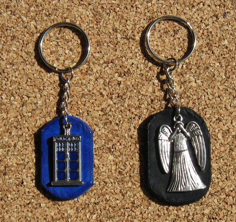 Dr. Who Leather Backed Charms With Keychain ring or Purse/Bag image 0