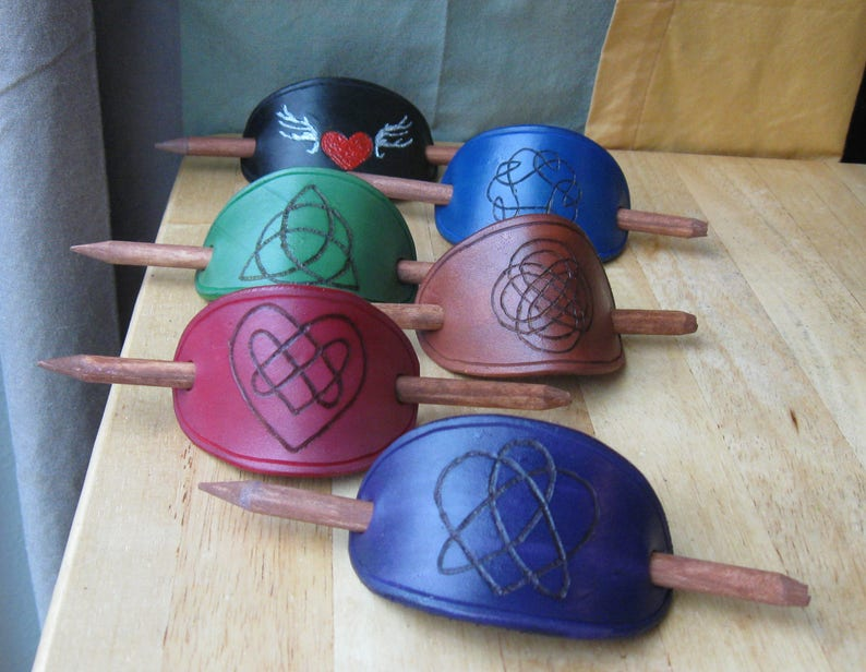 Hand Crafted Burned Leather Stick Barrettes image 0