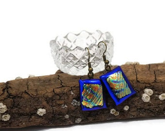 Blue And Gold Dichroic Fused Glass Earrings, Glass Drop Earrings, Wire Back, Woman's Gift, Fashion Jewelry, Boho, Hippie, Rainbow, Colorful