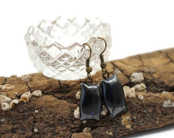 Crackle Grey Dichroic Fused Glass Drop Earrings, Dangle, Rectangle Shape, Wire Back, Boho, Hippie, Woman's Gift, Casual Wear, Light Weight