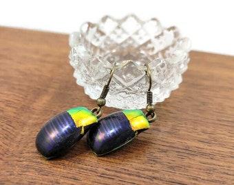 Dichroic Antique Bronze Wire Back Fused Glass Earrings, Blue Gold Green, Drop Earrings, Dangle Earrings, Egyptian Inspired, Girlfriend Gift
