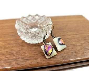 Dichroic Earrings, Fused Glass, Drop Earrings, Dangle Earrings, Colorful Earrings, Artist Earrings, Funky, Boho, Hippie, Jewelry, Vibrant