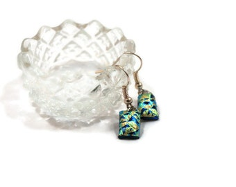 Dichroic Fused Glass Earrings, Dangle, Drop Earrings, Patch Work Design, Fashion, Jewelry, Boho, Hippie, Prom, Mother's Day, Woman's Gift
