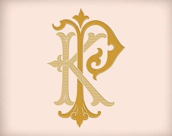 KP PK D1 Digital Download Victorian Wedding Monogram Vector Graphic