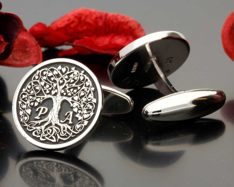 Love Heart Tree Initials Silver Cufflinks wedding gift for groom or best man bespoke initials laser engraved and handmade in the UK