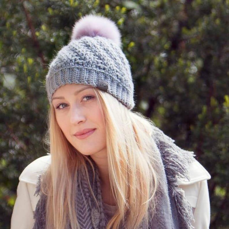 6ab380479e1 Canada Bliss Tranquility Pom Pom Hat Crochet Knit Baby Alpaca