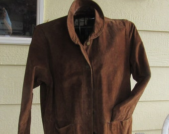 Ladies Suede Leather Jacket Vintage L. L. Bean Women's Size Large, Barn And Country Style, Patch Pockets, Brass Buttons, Heavy And Warm