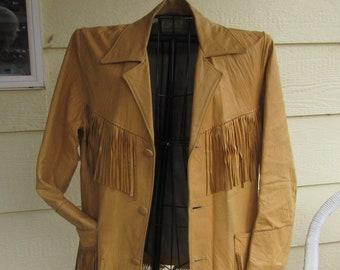 Fringed Leather Jacket, Women's Vintage Western Annie Oakley Style Made By Corral Sportswear Co