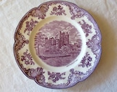 Lavender Old Britain Castles 10 quot Dinner Plate Blarney Castle 1792 Johnson Bros of England Crown Mark
