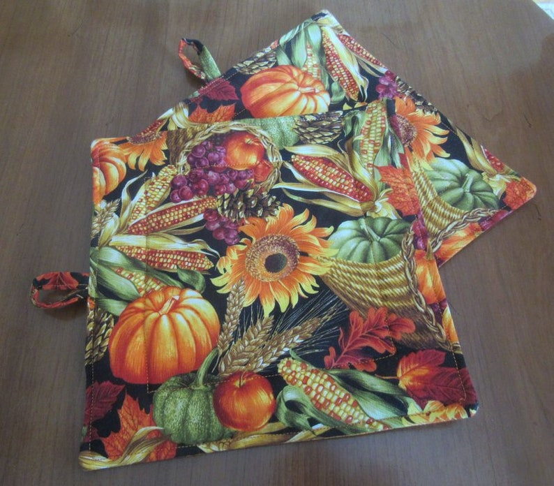 Quilted Pot Holder Pair Handmade Fall Harvest Fabric image 0