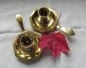 Brass Candle Holder Pair With Straight Handles Modern Farmhouse Mantel Holiday Decor
